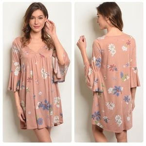 NWT! Blush Pink & Floral Print Bell Sleeve Dress